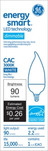 10W Replacement 2.2W Candle CA11 LED Bulb-GE Energy Smart